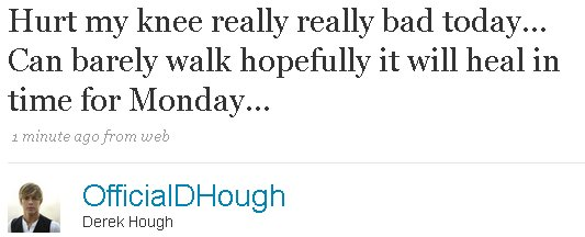 Derek Hough Knee Injury on Twitter
