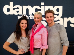 Bethany Mota, Patricia Kelly, and Derek Hough